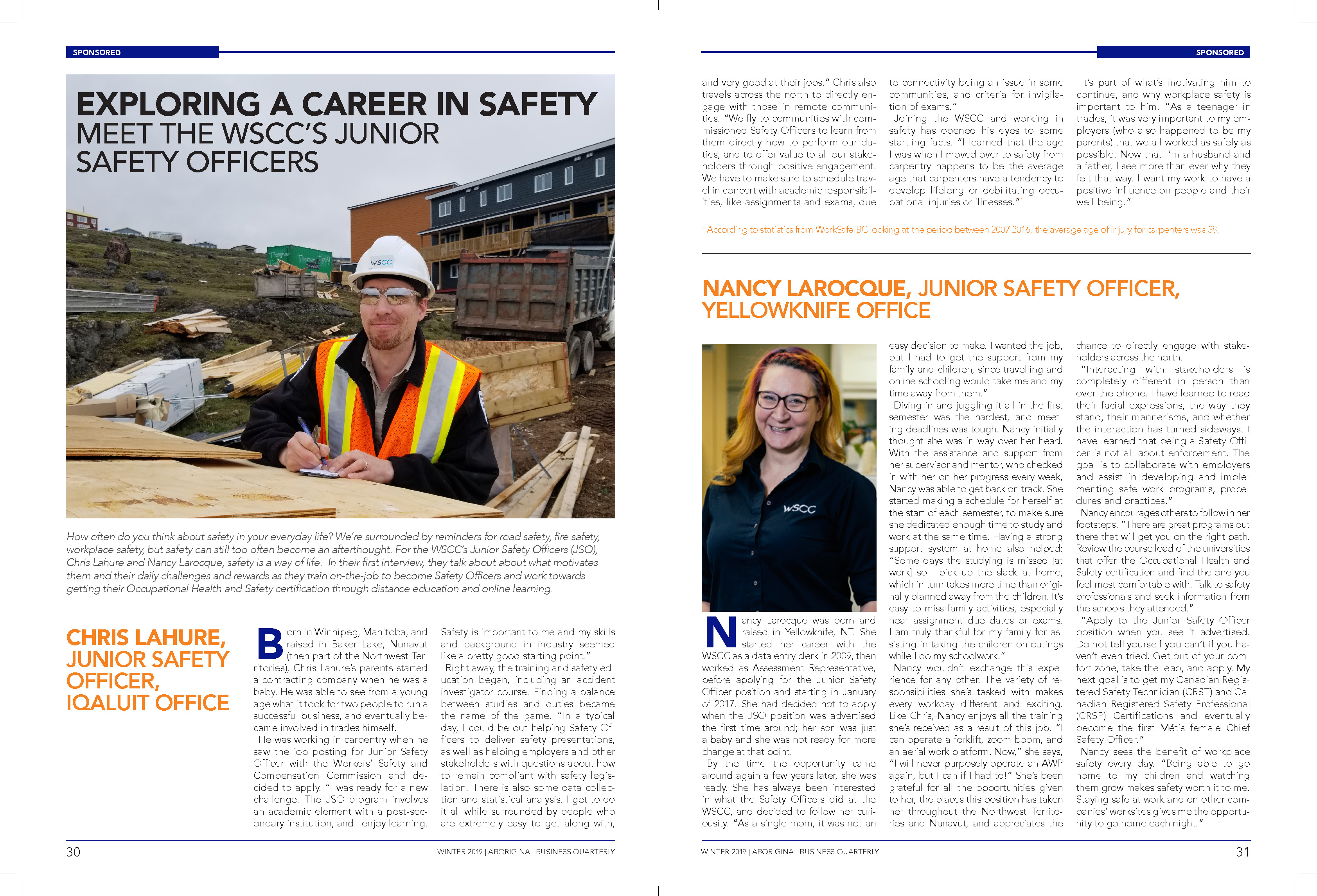 Aboriginal Business Quarterly Magazine - Winter 2019 - Page 30 - Exploring a Career in Safety